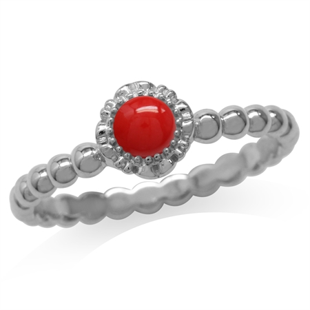 Created Red Coral White Gold Plated 925 Sterling Silver Flower Stack/Stackable Ring