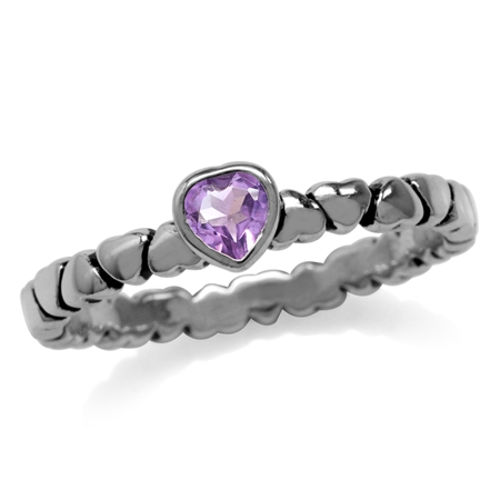 Natural Amethyst 925 Sterling Silver Stack/Stackable Heart Solitaire Ring