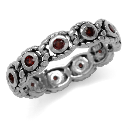 Natural Garnet 925 Sterling Silver Eternity Rope Ring