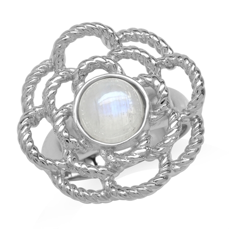 Natural Moonstone White Gold Plated 925 Sterling Silver Flower Ring