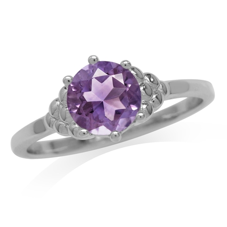 1.17ct. Natural Amethyst White Gold Plated 925 Sterling Silver Engagement Ring