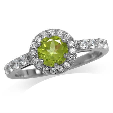 Natural Peridot White Gold Plated 925 Sterling Silver Engagement Ring