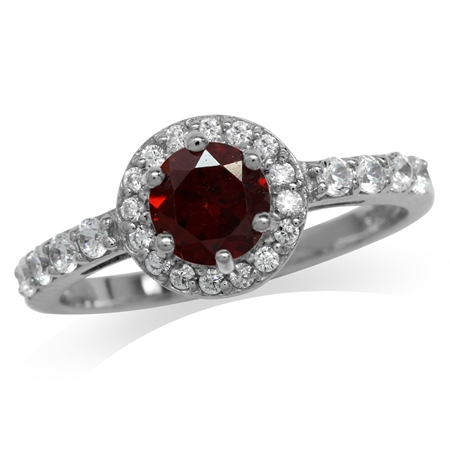 Natural Garnet White Gold Plated 925 Sterling Silver Engagement Ring