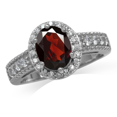 2.04ct. Natural Garnet White Gold Plated 925 Sterling Silver Engagement Ring