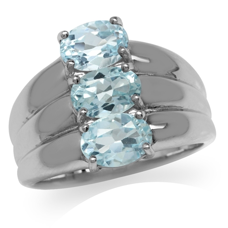 2.7ct. 3-Stone Genuine Blue Topaz 925 Sterling Silver Ring