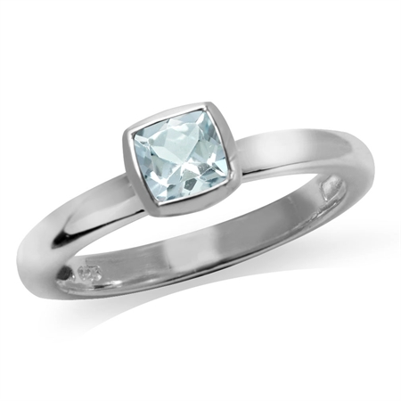 Genuine Cushion Cut Blue Aquamarine 925 Sterling Silver Stack/Stackable Solitaire Ring