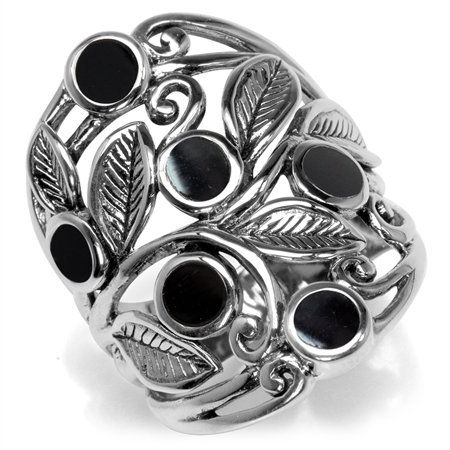 Created Black Onyx Inlay 925 Sterling Silver Filigree Leaf Ring