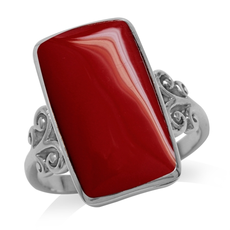 Created Red Coral Inlay White Gold Plated 925 Sterling Silver Swirl & Spiral Ring