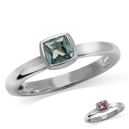 Cushion Cut Simulated Color Change Alexandrite 925 Sterling Silver Stack/Stackable Solitaire Ring