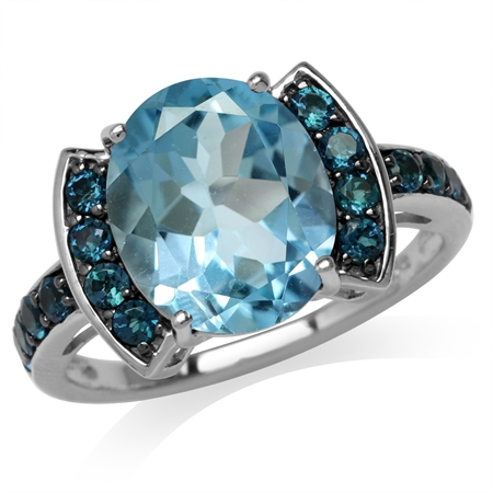 5.44ct. Genuine Blue Topaz & London Black & White Gold Plated 925 Sterling Silver Cocktail Ring