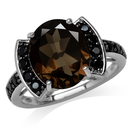 4.46ct. Natural Smoky Quartz & Black Spinel White Gold Plated 925 Sterling Silver Cocktail Ring