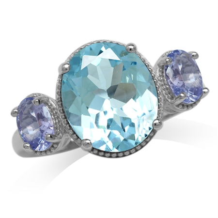 5.44ct. 12x10MM Genuine Oval Shape Blue Topaz & Tanzanite White Gold Plated 925 Sterling Silver Ring