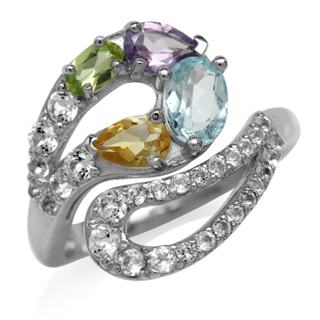 Natural Peridot, Amethyst, Blue Topaz & Citrine White Gold Plated 925 Sterling Silver Bypass Ring