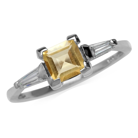 1.14ct. 6MM Natural Square Citrine White Gold Plated 925 Sterling Silver Engagement Ring