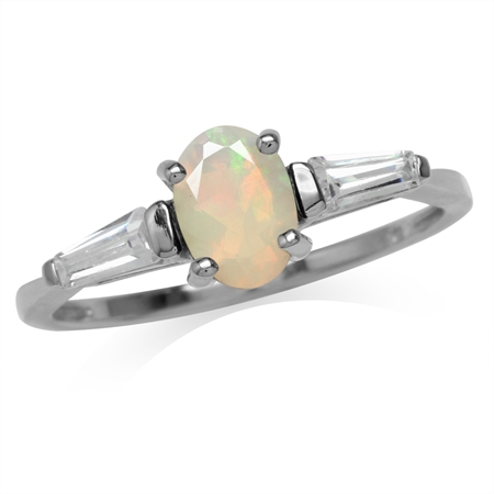 Genuine Oval Shape Opal White Gold Plated 925 Sterling Silver Ring