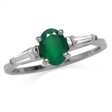 Natural Oval Shape Emerald Green Agate White Gold Plated 925 Sterling Silver Ring