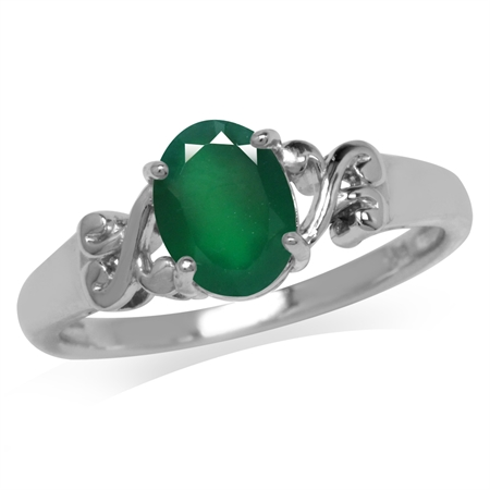 1.12ct. Natural Emerald Green Agate 925 Sterling Silver Victorian Style Solitaire Ring