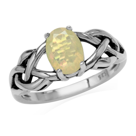 Genuine Opal 925 Sterling Silver Celtic Knot Solitaire Ring
