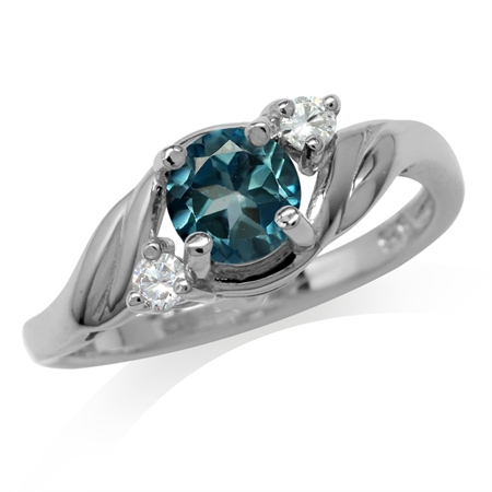 1.05ct. Genuine London Blue Topaz White Gold Plated 925 Sterling Silver Engagement Ring