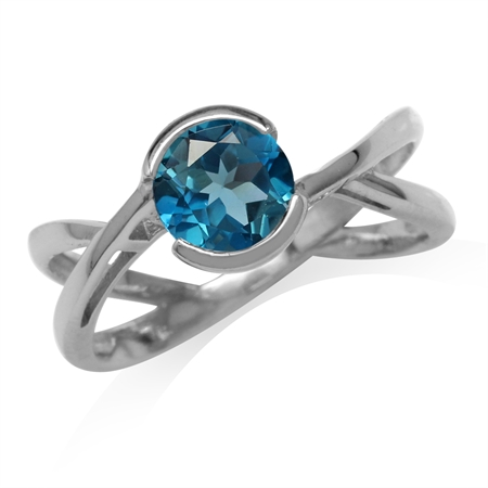 1.6ct. 7MM Genuine London Blue Topaz Gold Plated 925 Sterling Silver Modern Ring