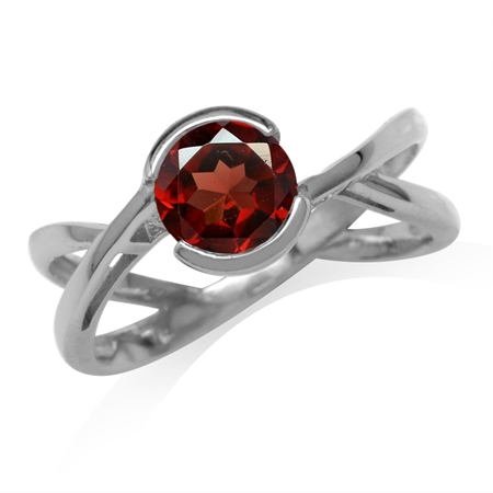 1.5ct. 7MM Natural Round Shape Garnet White Gold Plated 925 Sterling Silver Modern Ring