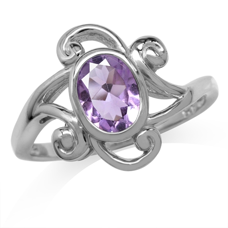 1.13ct. Natural Oval Shape Amethyst White Gold Plated 925 Sterling Silver Swirl & Spiral Ring