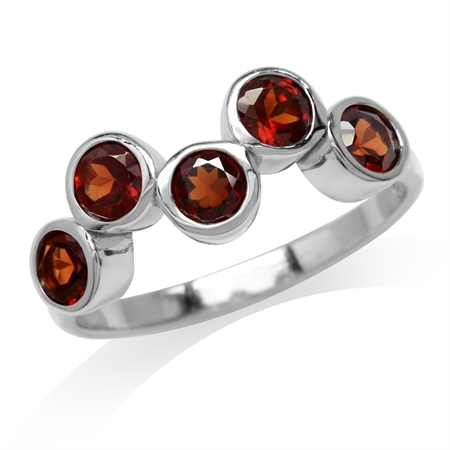 1.7ct. 5-Stone Natural Garnet White Gold Plated 925 Sterling Silver Bezel Set Ring