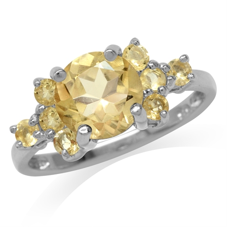 2.4ct. Natural Round Shape Citrine White Gold Plated 925 Sterling Silver Ring