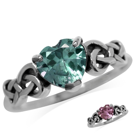 Heart Shape Simulated Color Change Alexandrite 925 Sterling Silver Celtic Knot Ring