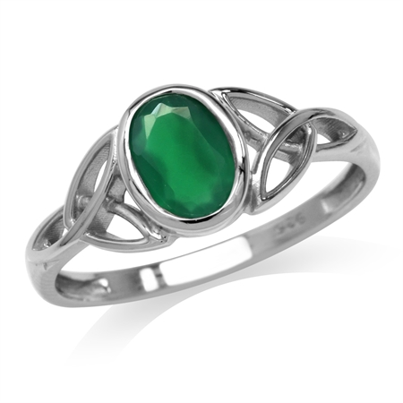 Natural Emerald Green Agate White Gold Plated 925 Sterling Silver Triquetra Celtic Knot Ring