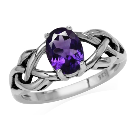 1.18ct. Natural African Amethyst 925 Sterling Silver Celtic Knot Solitaire Ring