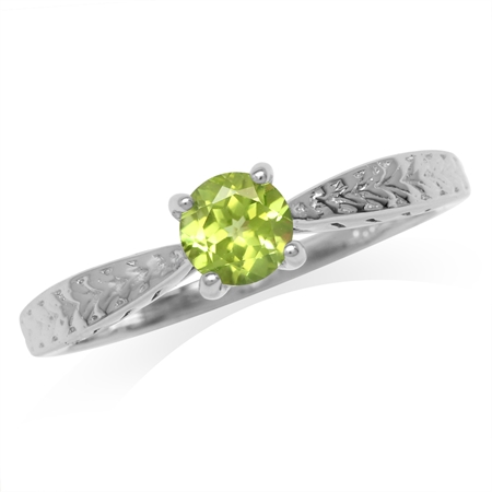 5MM Natural Round Shape Peridot White Gold Plated 925 Sterling Silver Engagement Ring