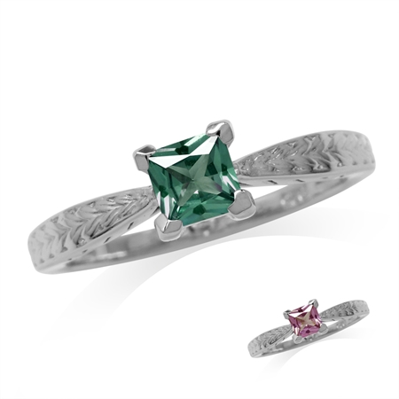 5MM Square Simulated Color Change Alexandrite White Gold Plated 925 Sterling Silver Engagement Ring