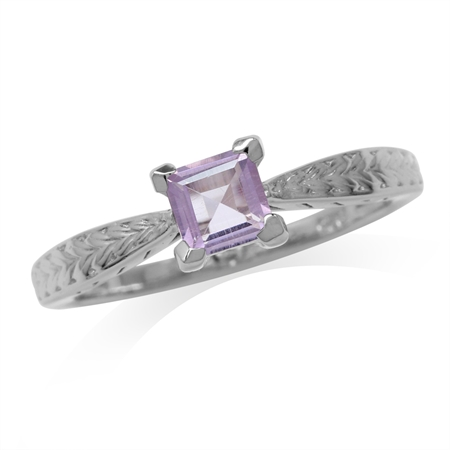5MM Natural Square Shape Amethyst White Gold Plated 925 Sterling Silver Engagement Ring