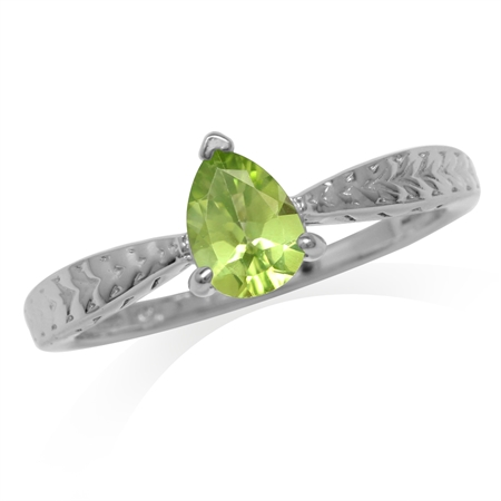 Natural Pear Shape Peridot White Gold Plated 925 Sterling Silver Engagement Ring