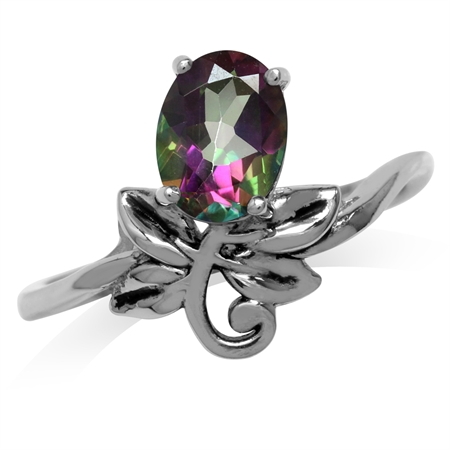 1.39ct. Oval Shape Mystic Fire Topaz 925 Sterling Silver Leaf Vintage Inspired Ring