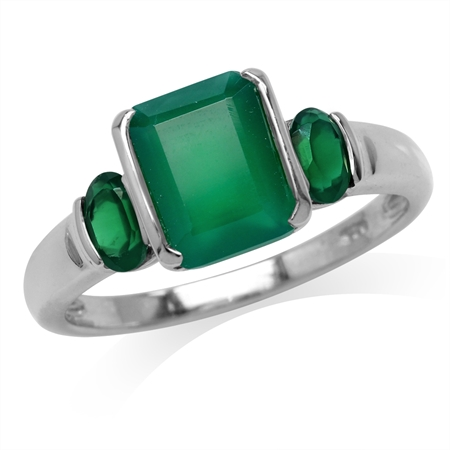 2.64ct. 9x7MM 3-Stone Natural Octagon Shape Emerald Green Agate 925 Sterling Silver Ring