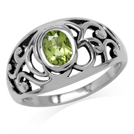 Natural Oval Shape Peridot 925 Sterling Silver Filigree Swirl & Spiral Ring