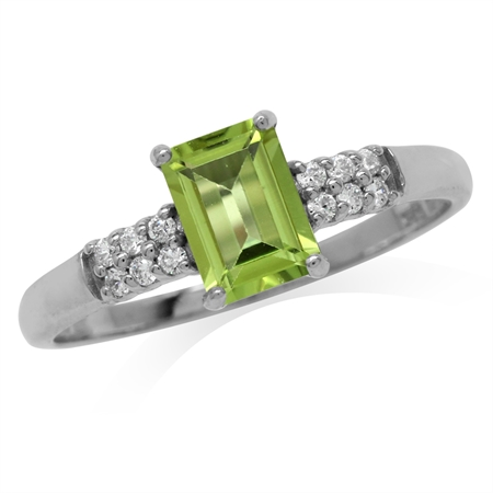 1.04ct. Natural Octagon Shape Peridot White Gold Plated 925 Sterling Silver Engagement Ring