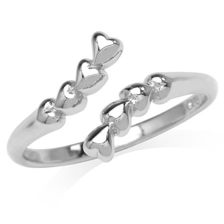 White Gold Plated 925 Sterling Silver Graduated Heart Bypass Ring