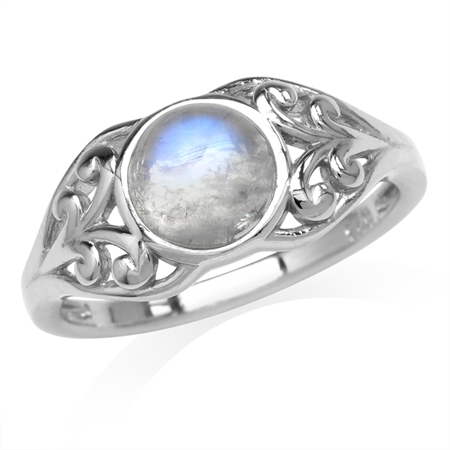 Natural Moonstone White Gold Plated 925 Sterling Silver Filigree Solitaire Ring