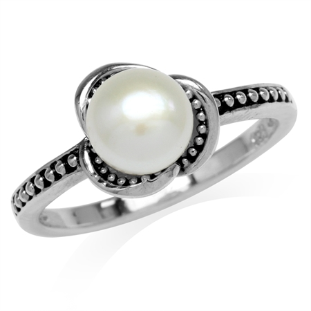 7MM Cultured Freshwater White Pearl 925 Sterling Silver Flower Ring