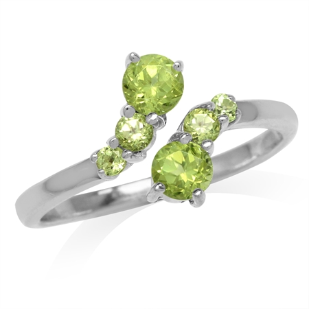 Natural Peridot White Gold Plated 925 Sterling Silver Graduated Bypass Ring