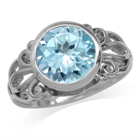 4.46ct. 10MM Genuine Round Shape Blue Topaz White Gold Plated 925 Sterling Silver Filigree Ring
