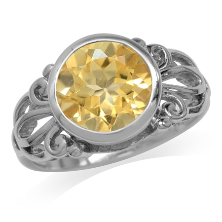 3.26ct. 10MM Natural Round Shape Citrine White Gold Plated 925 Sterling Silver Filigree Ring