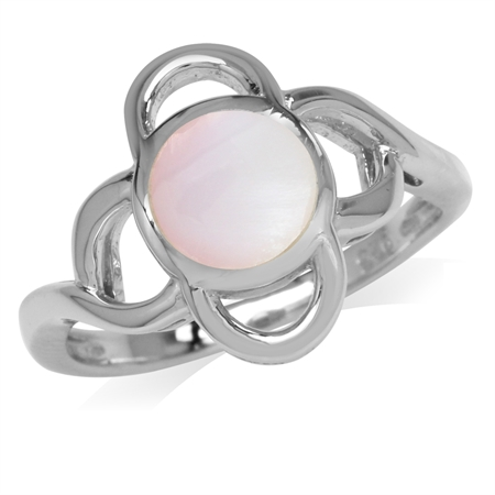 7MM Pink Mother Of Pearl Inlay White Gold Plated 925 Sterling Silver Flower Ring