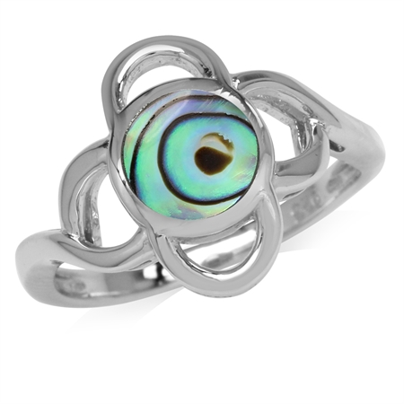 7MM Abalone/Paua Shell Inlay White Gold Plated 925 Sterling Silver Flower Ring