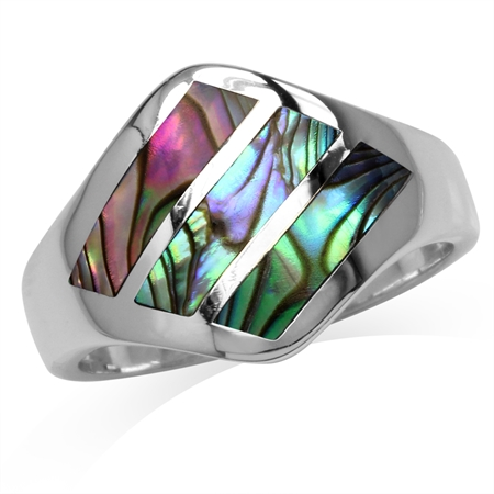 3-Stone Abalone/Paua Shell Inlay White Gold Plated 925 Sterling Silver Ring