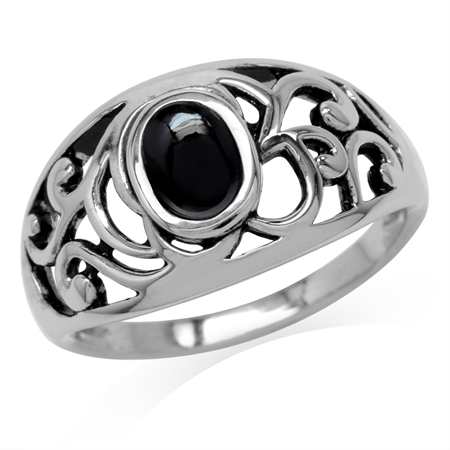 Created Oval Shape Black Onyx 925 Sterling Silver Filigree Swirl & Spiral Ring