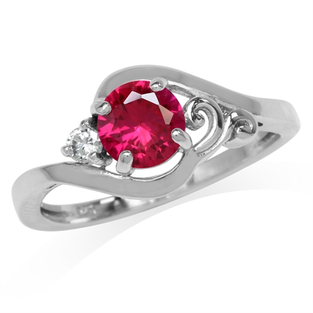 Synthetic Ruby Red & White CZ Gold Plated 925 Sterling Silver Engagement Ring